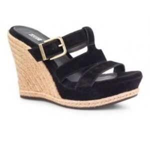 Ugg Black Suede Espadrille Wedge Sandals